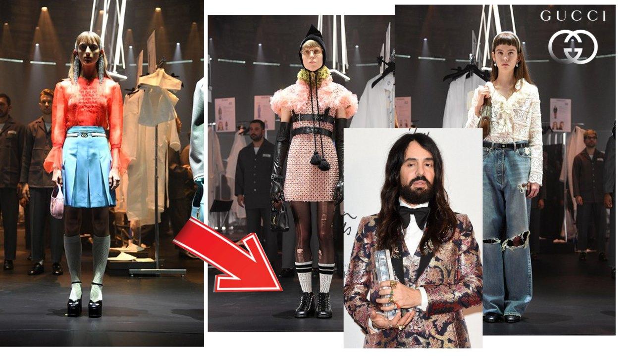 Gucci muestra que los zapatos escolares se llevan con una falda con tablones