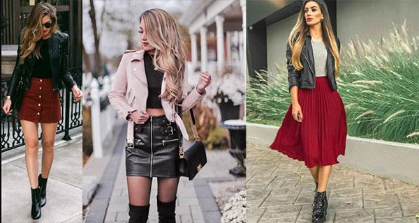 Combinaciones de falda y chaqueta de cuero que amarás usar